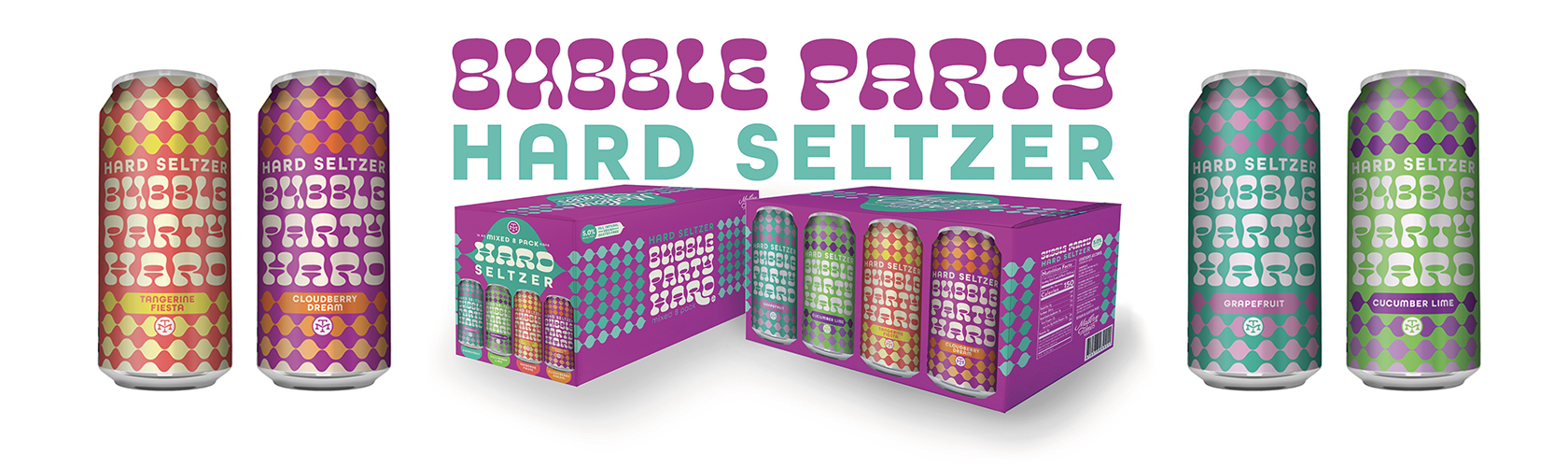 Bubble Party Hard Cans and Case Packaging
